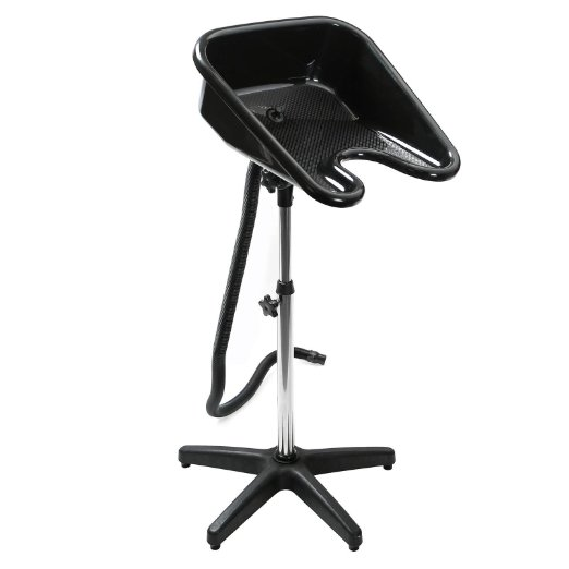 Saloniture Portable Salon Basin Shampoo Sink with Drain - Black - Adjustable Height