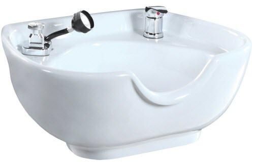 White Heart Shaped porcelain Shampoo Bowl with Fixtures SU-08W