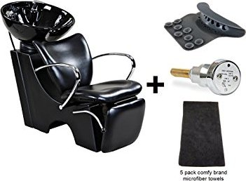 Icarus Monroe Black Backwash Chair & Sink Bowl Unit