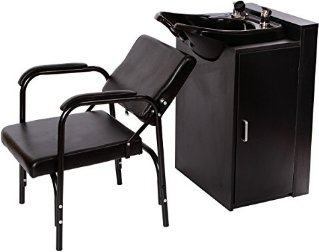 Beauty Salon Backwash Bowl Salon Sink with Floor Cabinet and Chair