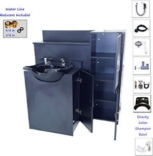 Beauty Salon Backwash Shampoo Bowl with DOUBLE Floor Cabinets