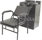 Round Shampoo Bowl Salon Sink with Cabinet and Chair