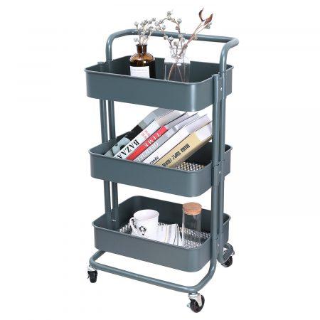 3-Tier Metal Mesh Storage Cart